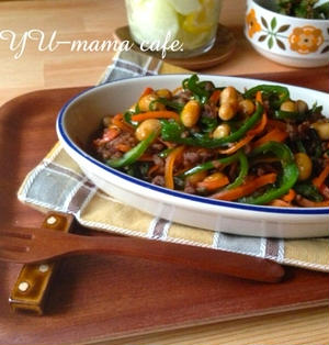 挽肉、大豆、ピーマンの変わりきんぴら*ご飯が進む常備菜*作り置きについて。