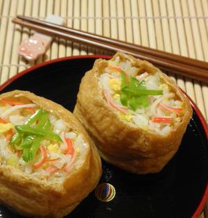 春キャベツとカニカマの☆彩りいなり寿司(6個分)